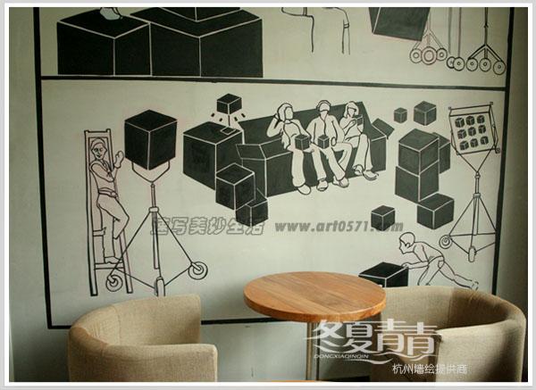 杭州盒子咖啡馆立面墙绘 经典的黑灰色调墙绘 盒子咖啡位于北软博采传媒一楼,墙绘图案用黑色盒子表现博采传媒影视、广告行业的场景,咖啡厅整体设计感极强,经典的黑灰色系营造出强烈的视觉效果,承袭着老电影情节中的优雅情调,经典的黑色线条在灰色的墙面映衬下将优雅的姿态表露无遗。现代感十足的桌椅搭配白色吊灯,让整个空间被映照得格外敞亮。夏季的自然色本来就够艳丽了,简约清爽的黑白灰装饰,过滤掉一切不相干的色彩,如出水芙蓉般,愈发衬托出空间卓尔不凡的高雅气质。