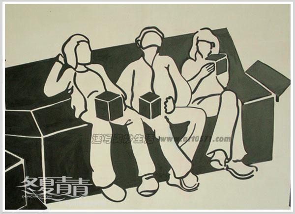 墙绘图案用黑色盒子表现博采传媒影视,广告行业的场景,咖啡厅整体设计