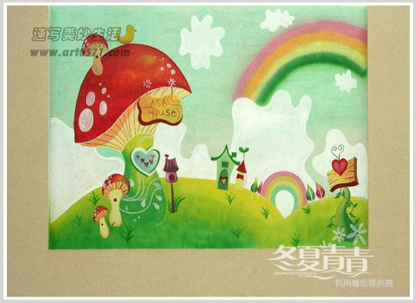 可爱宝宝墙绘图片