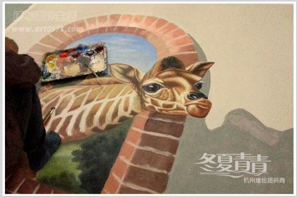 > 案例展示  湖州银泰城3d立体画-好奇的长颈鹿                冬夏