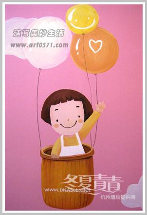 可爱卡通人物墙绘 杭州墙体彩绘