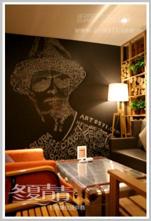 咖啡厅墙绘 粉笔画