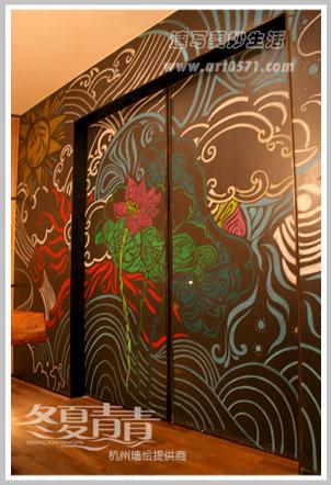 粉笔画 西田城咖啡厅墙绘