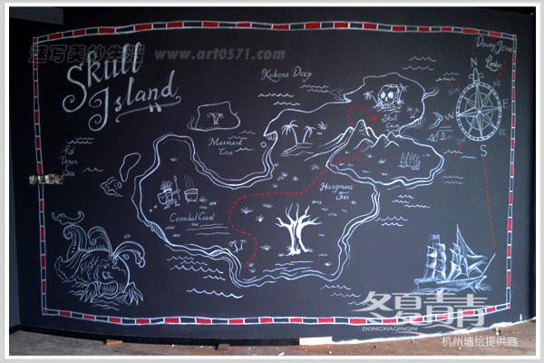海贼王墙绘 咖啡厅主题墙绘
