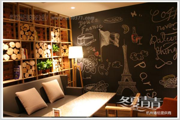 咖啡厅包间墙绘 咖啡厅粉笔画