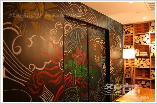 杭州咖啡厅墙绘 杭州咖啡馆粉笔画