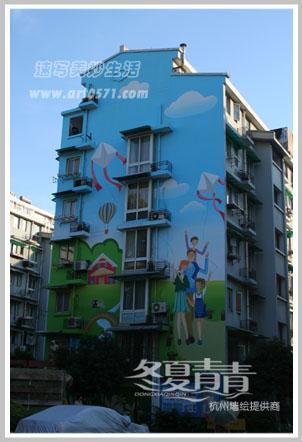 杭州楼房彩绘 杭州房子外侧面墙绘