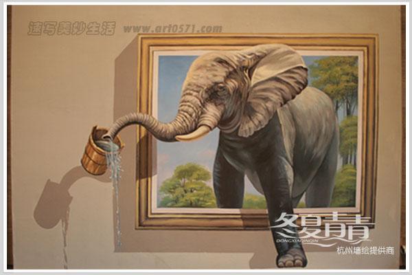 3d立体画大象 宁波立体画