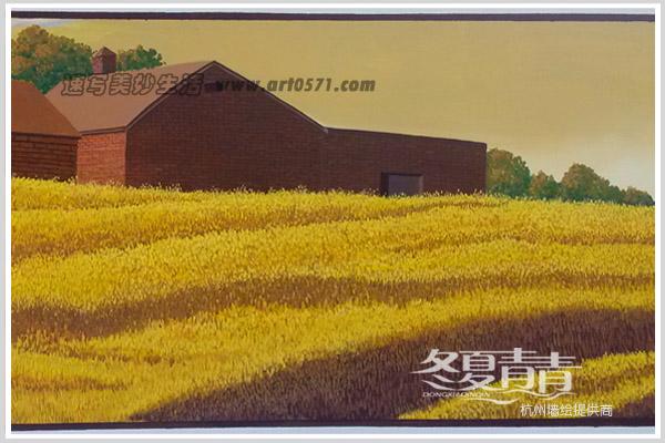 农村围墙彩绘点彩画法