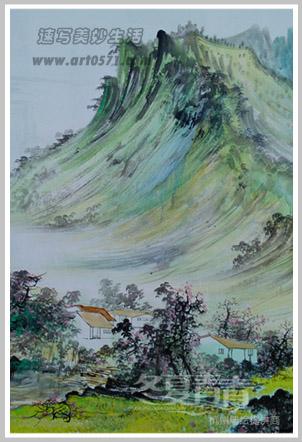 农村国画山水风格墙绘