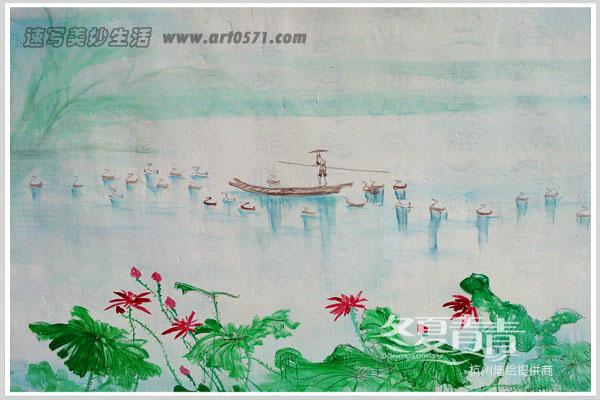 杭州墙绘 国画小暑
