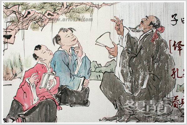 杭州冬夏青青墙绘 杭州国画类墙绘 大关中学墙绘