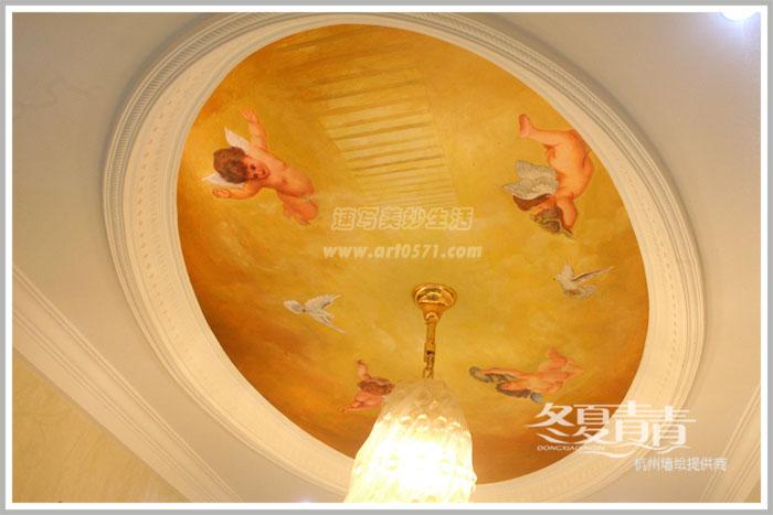 杭州墙绘 冬夏青青墙绘 油画人物墙绘 杭州天顶画