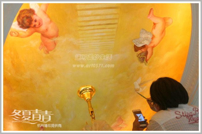 杭州墙绘 冬夏青青墙绘 油画小天使墙绘 小天使天顶画