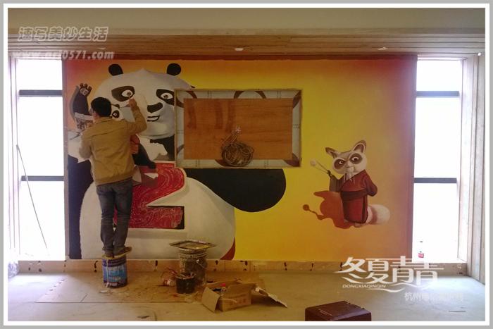 杭州冬夏青青墙绘绘制过程