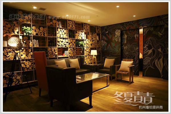 黑白粉笔画 杭州冬夏青青墙绘 咖啡厅粉笔画墙绘