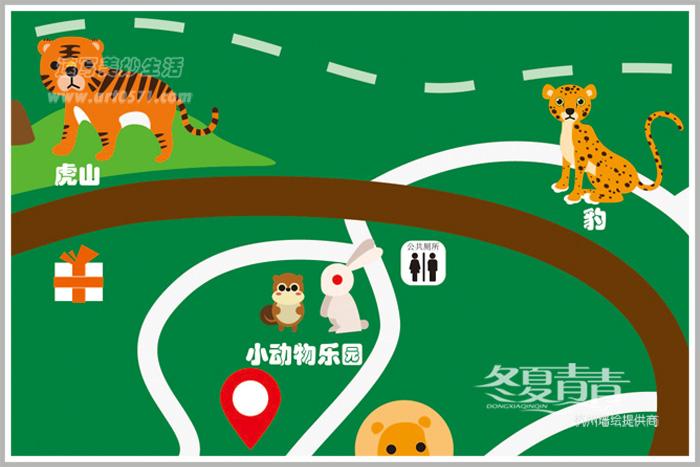 卡通动物设计 动物园手绘导览图设计