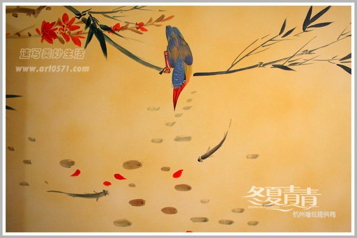 国画花鸟鱼 中式餐厅国画墙绘