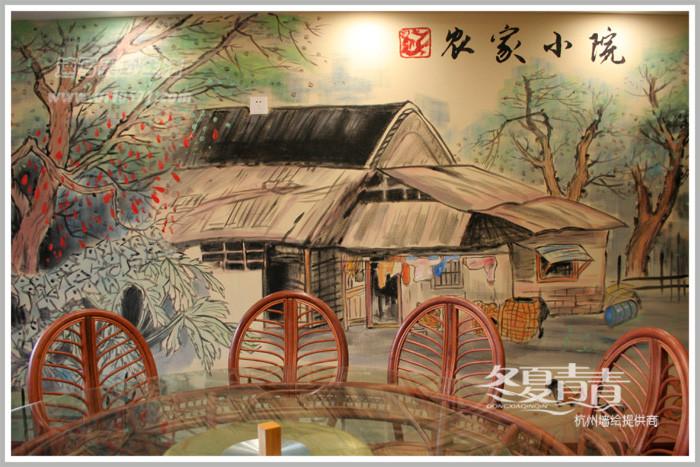 银壶食府国画餐厅墙绘 滨江浦沿餐厅墙绘