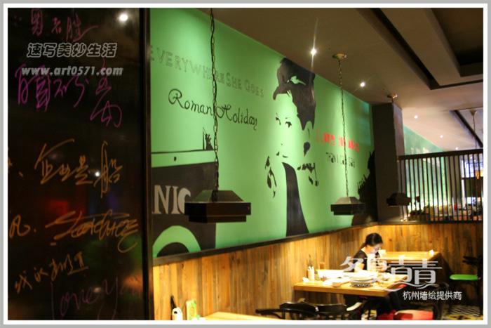 复古工业风墙绘 奥黛丽赫本墙绘 杭州冬夏青青墙绘