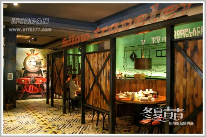 复古工业风餐厅墙绘 火车墙绘