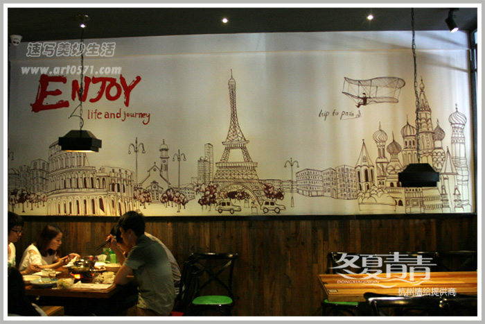 复古工业风餐厅墙绘 酒吧墙绘 杭州冬夏青青墙绘